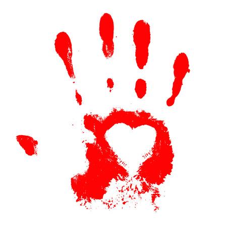hand print: Hand print with heart Stock Photo