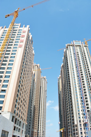 high rise building: high rise building construction site