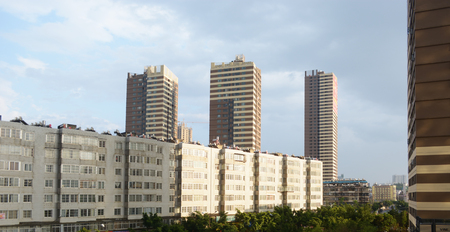 investment real state: highrise office building and apartment building