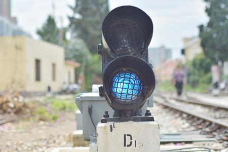 crossway: Railway blue traffic light Editorial