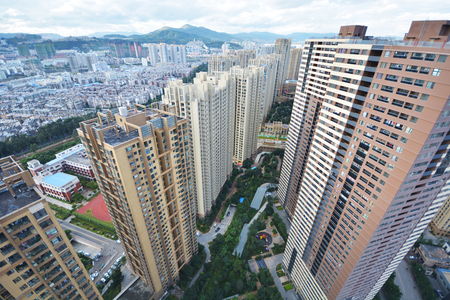 birds eye: Birds eye view of modern buildings in city Stock Photo