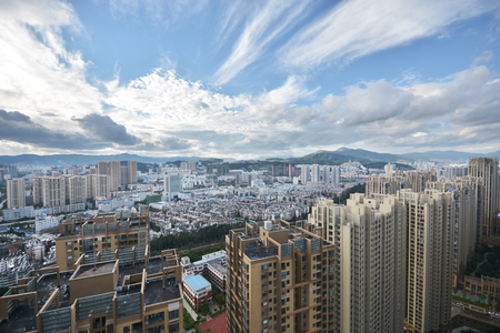 megapolis: High rise building and panorama cityscape in Kunming city of china,most famous city in southeast Asian
