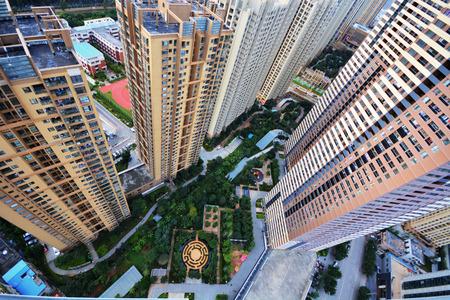 bird's eye view: Birds eye view of modern buildings in city Stock Photo