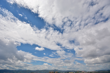 apparent: blue sky and white clouds