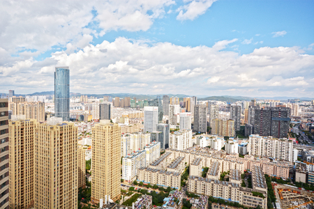 kunming: chinese famous city kunming with blue sky