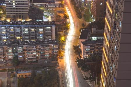 top down car: City night scene