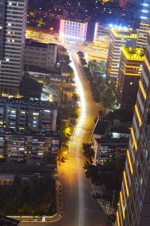 top down car: City part aerial view form high place