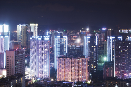 nightscape: City Commercial Centre  nightscape in southwest china Editorial