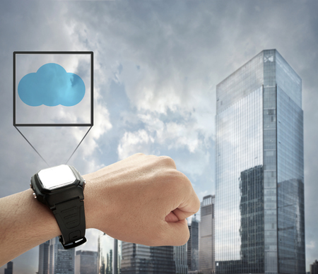 smart watch in city background with cloud data 版權商用圖片