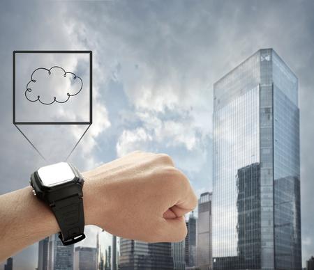 智能手錶在城市背景下與雲數據