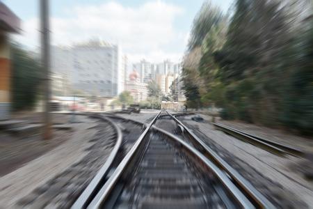 鐵路交界處和速度行動背景 版權商用圖片