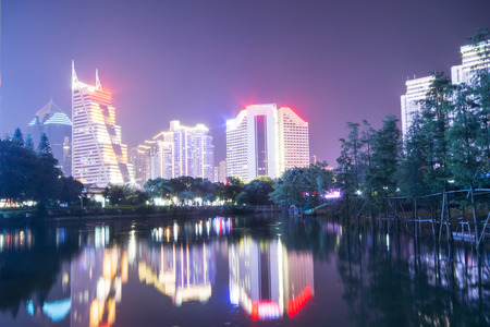 nightscape: office building nightscape in Shenzhen,china Stock Photo