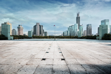 empty square view from Shenzhen City skyline