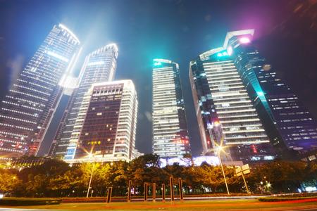 futian: modern building in nightscape ,in Futian district, shenzhen city