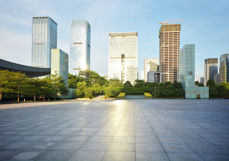 futian: modern building with empty square Stock Photo