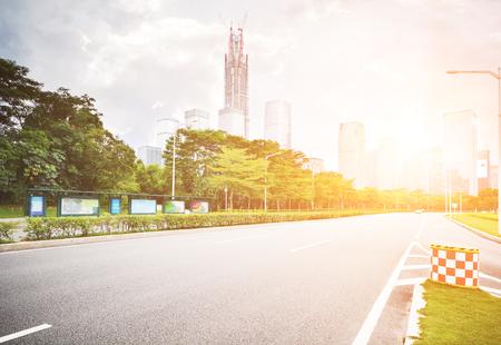 futian: road in modern city ,shenzhen china Stock Photo