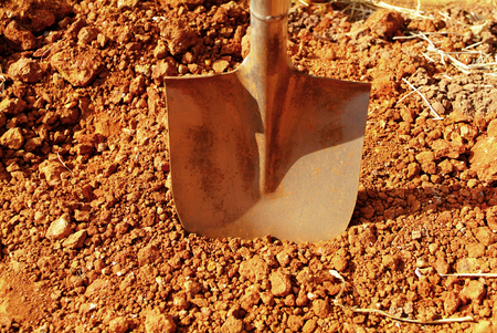 Shovel putted into heap of ground Stock Photo - 52035638