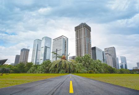 highway traffic: Asphalt road  modern garden city