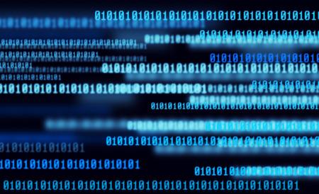 Technology digital background, glowing figures, binary code