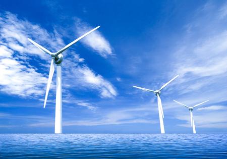 海上風力渦輪機 版權商用圖片 - 74759259