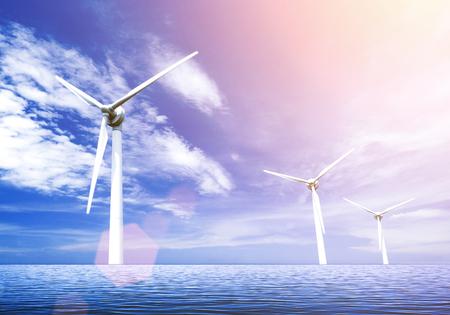 Wind turbines on sea 版權商用圖片 - 81698266