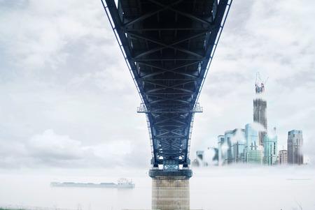 橋樑和城市 版權商用圖片