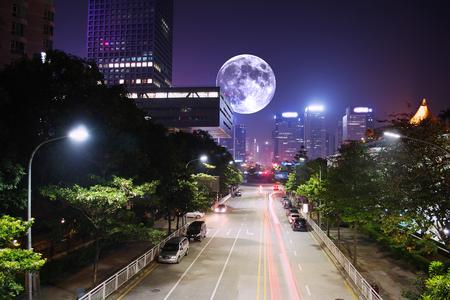 moon on the city Stock Photo