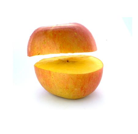 在白色背景上切蘋果 版權商用圖片