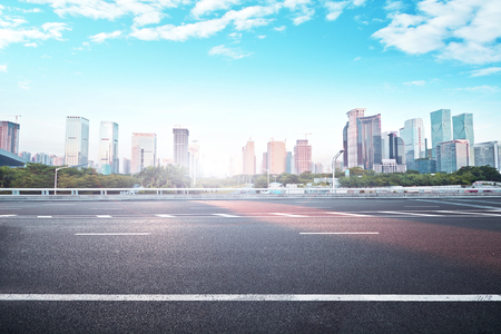 Landscape view of a city and asphalt road