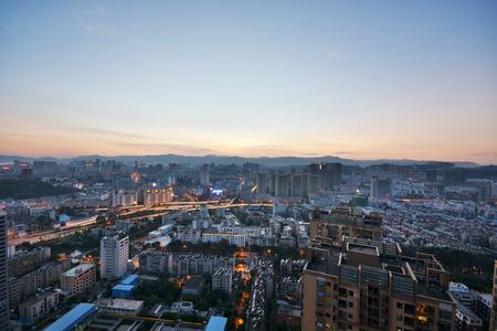 昆明,城市,夜晚,中國 版權商用圖片