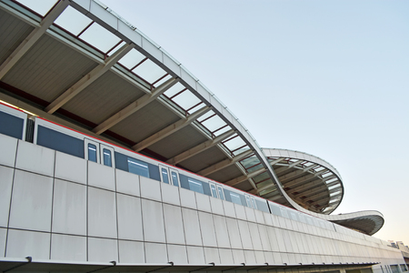 train  in modern city
