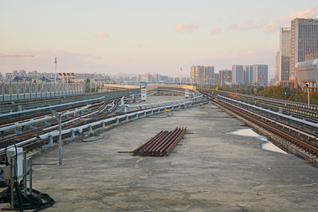 train rail in modern city