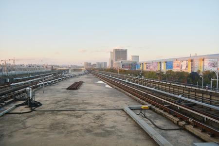train rail in modern city