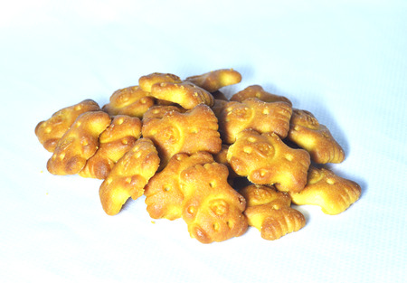 bear biscuits on white background