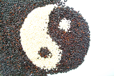 trigram: Black rice and white rice in shape of Eight Diagrams Stock Photo
