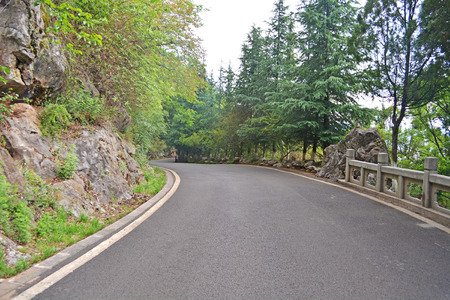ouray: mountain highway  asphalt road and forest Stock Photo