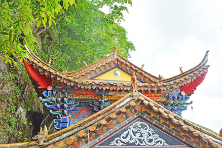 taoism: Chinese taoism temple in forest.