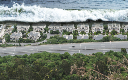 지진 해일의 파고 자연 재해 스톡 콘텐츠