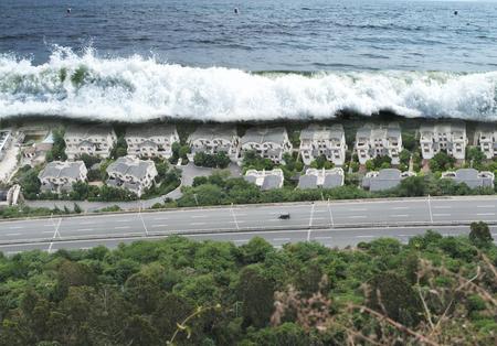 潮汐海嘯自然災害 版權商用圖片 - 61724752