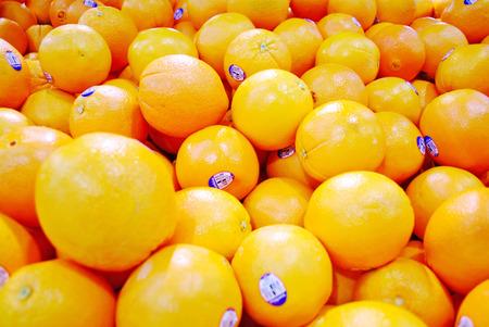 ornage: Closeup of sliced oranges on a market