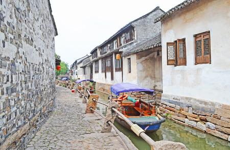 zhouzhuang: Canal scene in the water township of Zhouzhuang near Shanghai, China