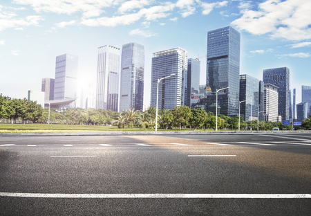 city road with cityscape and skyline of CBD