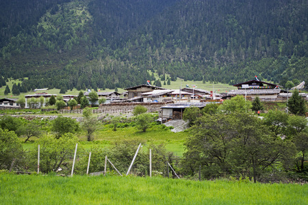Green hilly landscape of Tibet with small traditional tibetan village.