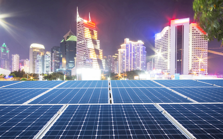 Solar panels and urban scenery 版權商用圖片