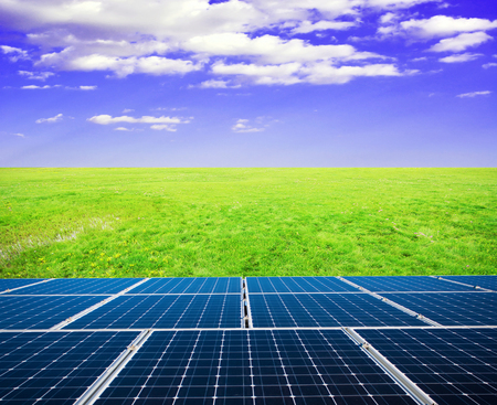 Solar panels and grasslands