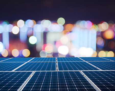 Solar panels and urban nightscape