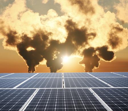 Chimneys and solar panels 版權商用圖片 - 108725403