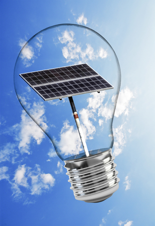 Solar panel in glass bulb