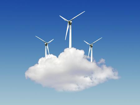 Turbine on cloud Stock Photo