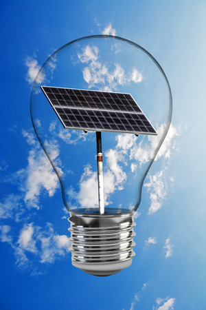 Light bulb with solar energy concept